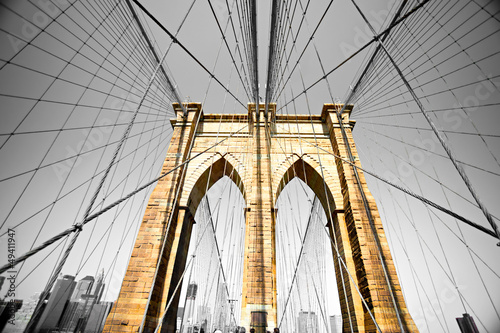 In de dag Brooklyn Bridge The Brooklyn bridge, New York City. USA.