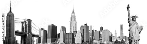 Fotografie, Obraz  New York City Landmarks, USA. Isolated on white.