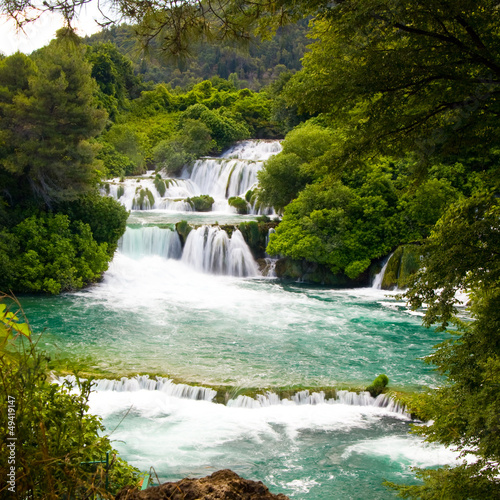 Naklejka premium Wodospady w Parku Narodowym Krka, Chorwacja