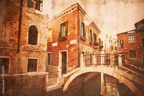 Fotografie, Obraz  nostalgisch texturiertes Bild einer typischen Venedigansicht