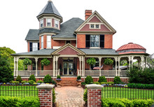 Victorian House On White