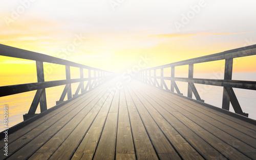 Foto auf AluDibond Pier Pier in fog