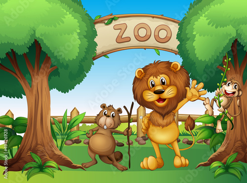 Canvas Prints Bears A monkey, beaver and a lion in the zoo