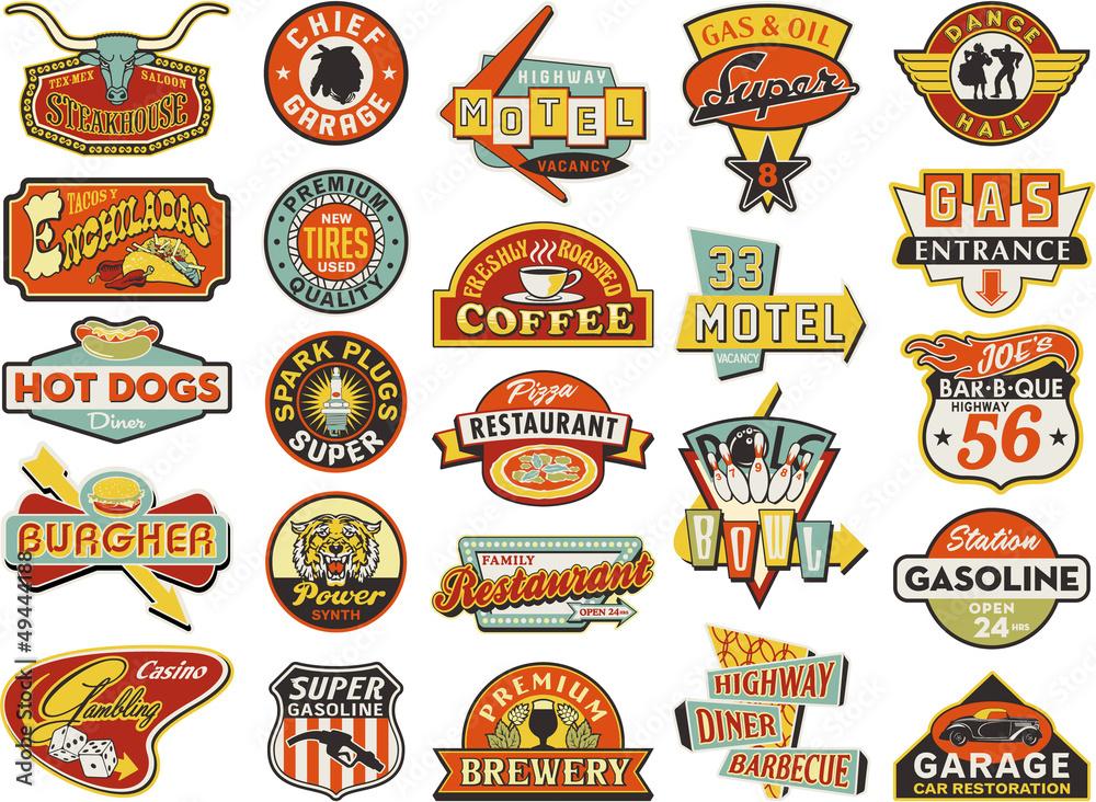 Fototapeta American vintage shops sign boards collection