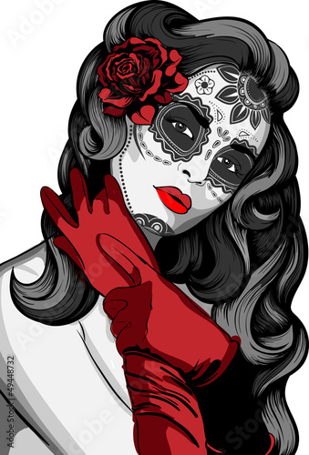 sugar-skull-lady-with-paint-for-day-of-the-dead