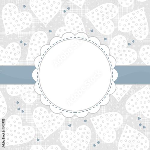 serca w kropki romantyczne tło ramka z niebieską wstążką