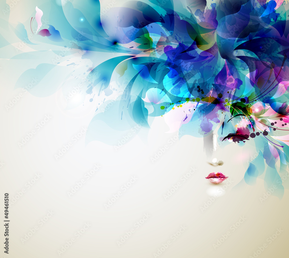 Fototapety, obrazy: Beautiful abstract women with abstract design elements