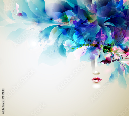 Foto op Aluminium Bloemen vrouw Beautiful abstract women with abstract design elements