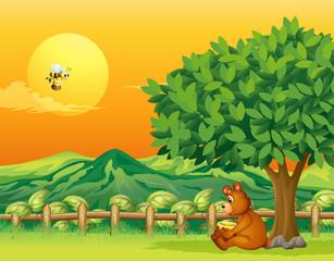 Medvjed koji sjedi pod velikim drvetom