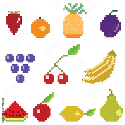 Deurstickers Pixel Pixel fruit collection