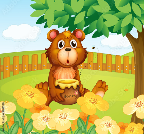 La pose en embrasure Ours A bear inside the wooden fence