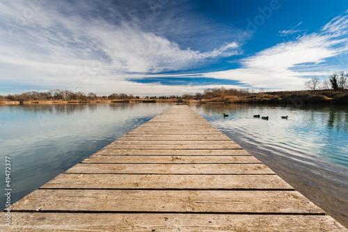 Fotobehang Pier Pond Pontoon