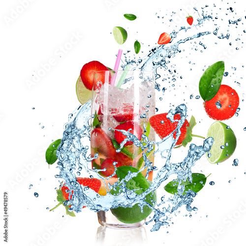 Photo Stands Splashing water Fruit Cocktail with splashing liquid isolated on white