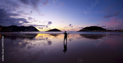 Photo  Sunset in the bay of La Concha, Donostia, Gipuzkoa