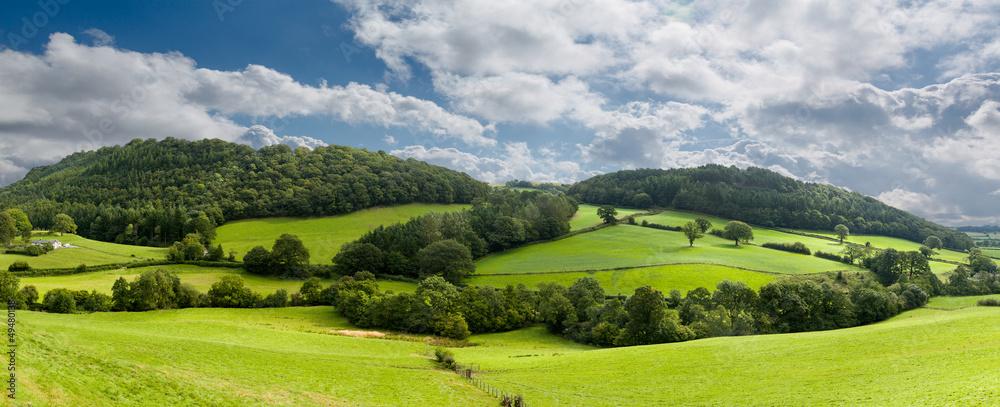 Fototapeta Panorama of welsh countryside