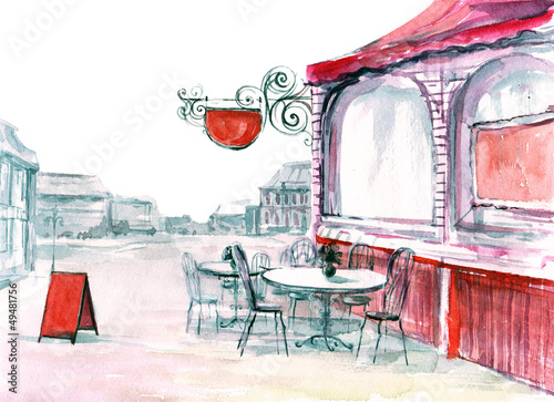 Photo sur Toile Drawn Street cafe recreation