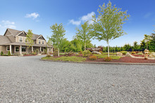 Large Farm Country House With Gravel Driveway