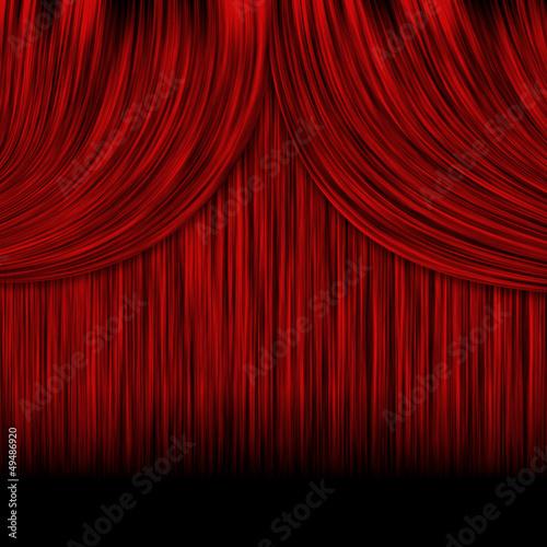 Aluminium Prints Theater Closed red curtains