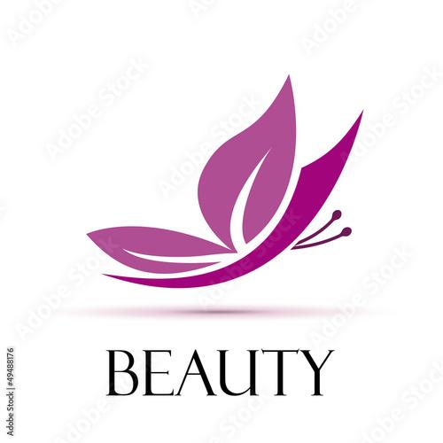 Doppelrollo mit Motiv - Logo Butterfly. Spa, yoga and relax # Vector (von puckillustrations)
