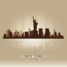 New York Skyline City Silhouette