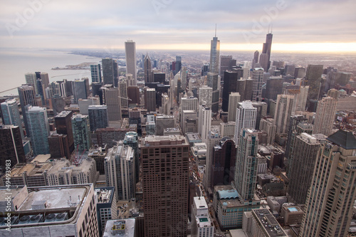 Spoed Foto op Canvas Grijze traf. Chicago skyline from the hancock tower