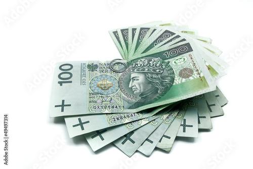 Fotografía stack of hundreds polish zloty banknotes