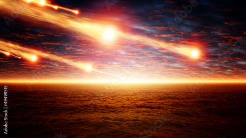 Asteroid impact Canvas Print