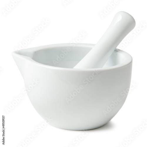 mortar and pestle isolated on white background Wallpaper Mural