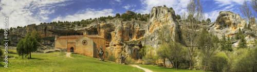 Templar church panoramic in river wolves canyon in Soria, Spain.