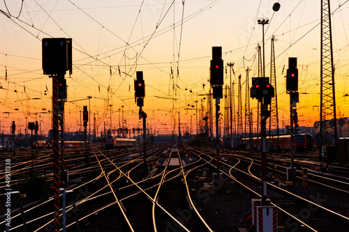 Fotografie, Obraz  Railway Tracks at Sunset