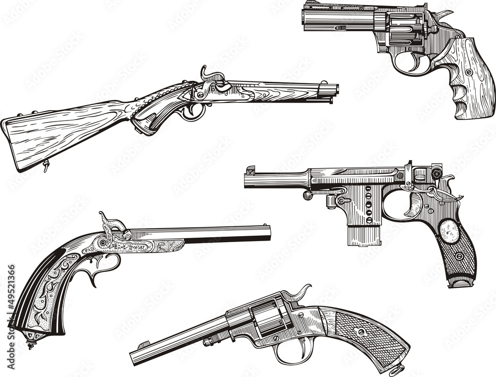 Fototapeta Set of old revolvers and pistols