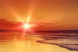 zachód słońca na plaży - 49522367
