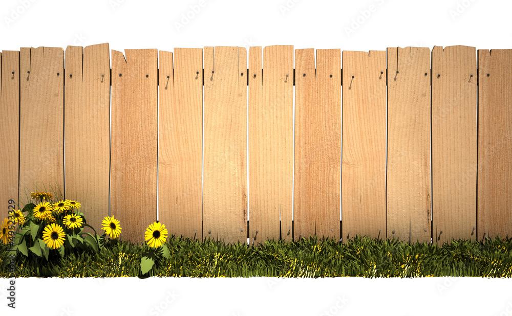 Fototapeta Garden and wooden fence