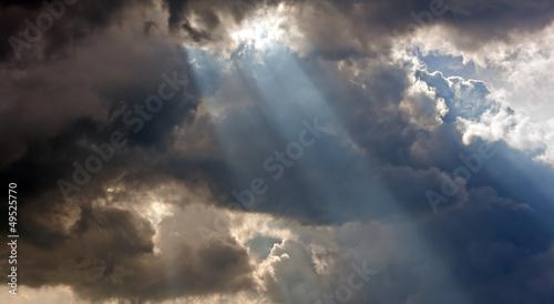 Aluminium Prints Heaven Sun rays through storm clouds