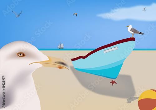 Poster Vogels, bijen spiaggia libera