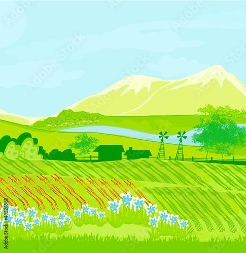 Fotobehang Wit Eco farming - landscapes