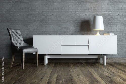 modern interior room with white furniture and table lamp Billede på lærred