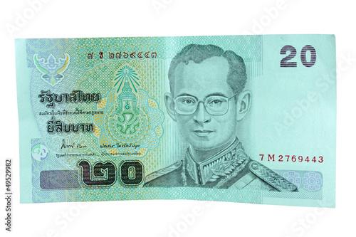 Canvas-taulu twenty thai baht on white background