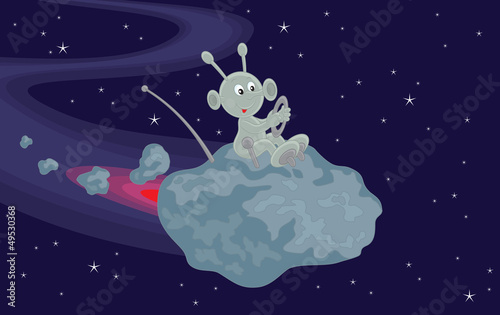 Cadres-photo bureau Cosmos Funny alien flies on a small asteroid in space