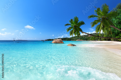Photo Stands Tropical beach Anse Lazio beach at Praslin island, Seychelles