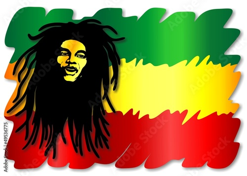 Fotografie, Tablou  Reggae Singer on Rasta Colors-Uomo e Colori Rasta-Vector