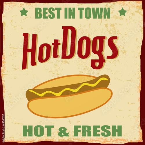 Vintage Hot dog grunge poster