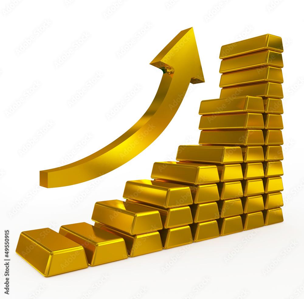 Fototapeta gold bars chart