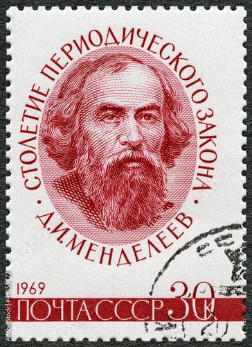 Fotografering  USSR - CIRCA 1969: shows Dmitri Ivanovich Mendeleev (1834-1907)