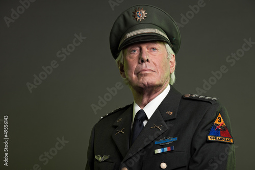 Vászonkép US military general in uniform. Studio portrait.
