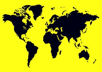 FototapetaYellow Black Map