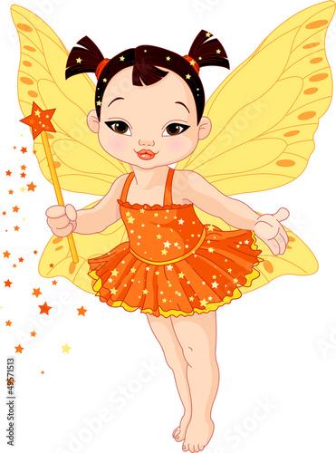 Foto auf Gartenposter Die magische Welt Cute Asian baby fairy