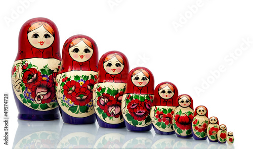 Fotografía Nested doll - a Old national Russian doll of handwork.