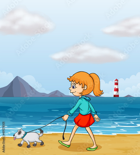 Poster Dogs A girl strolling at the beach with a puppy