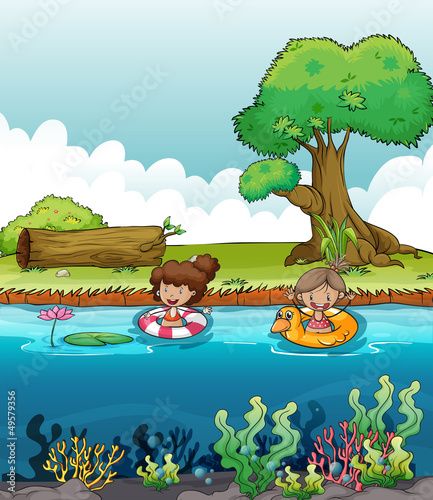 Aluminium Prints River, lake Two girls at the river